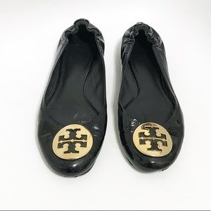 Tory Burch. Size 8. Patent leather black flats